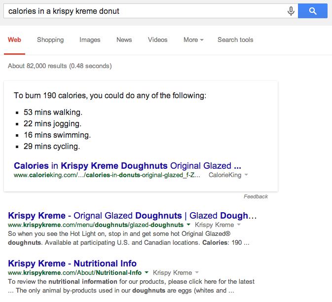 Calories in a krispy kreme donut