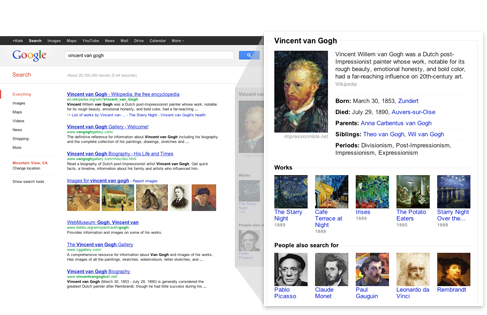Knowledge graph, top right of search results