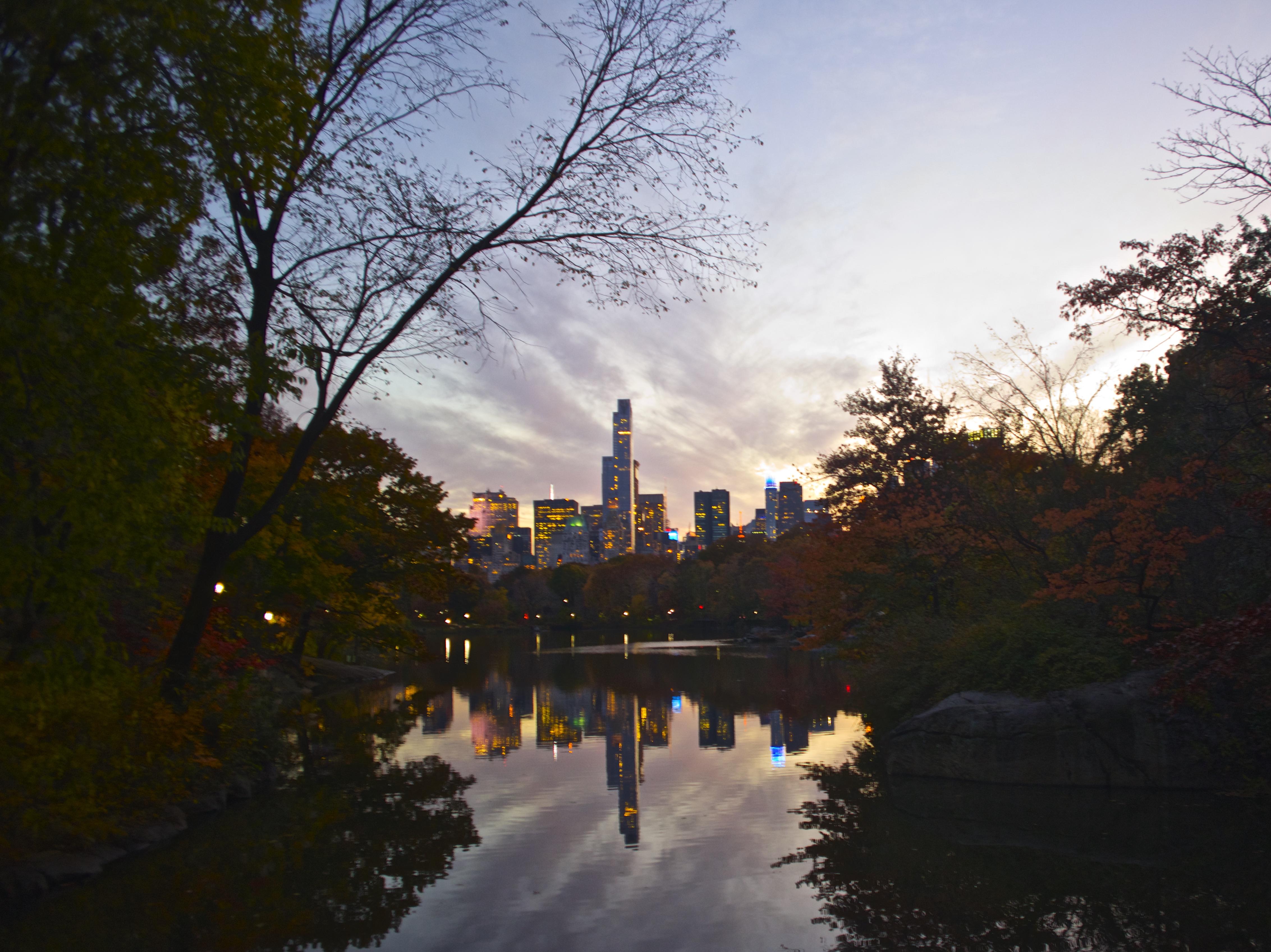 City Skyline at Twilight in Autumn
