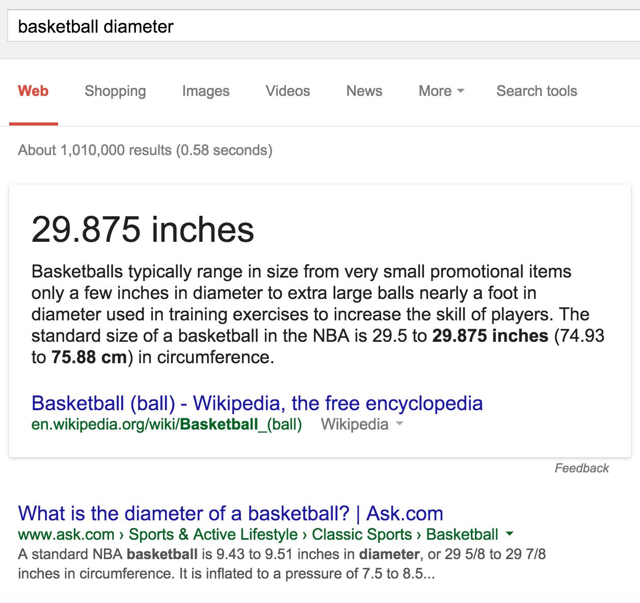 basketball diameter