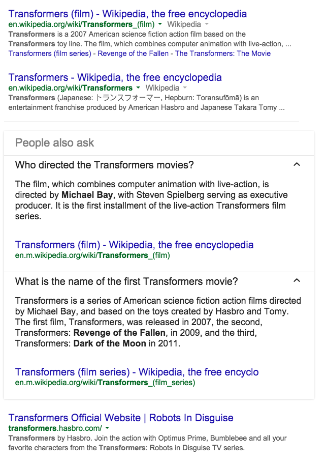 Other Transformers SERP