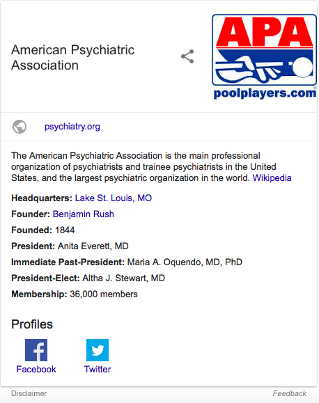 American Psychiatric Association Knowledge Graph mistake